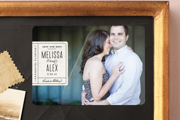 """""""Book Plate"""" - Full-Bleed Photo, Modern Save The Date Magnets in Natural by Jennifer Wick."""