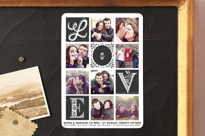 """""""Love Stories"""" - Hand Drawn, Vintage Save The Date Magnets in Ebony by Griffinbell Paper Co.."""