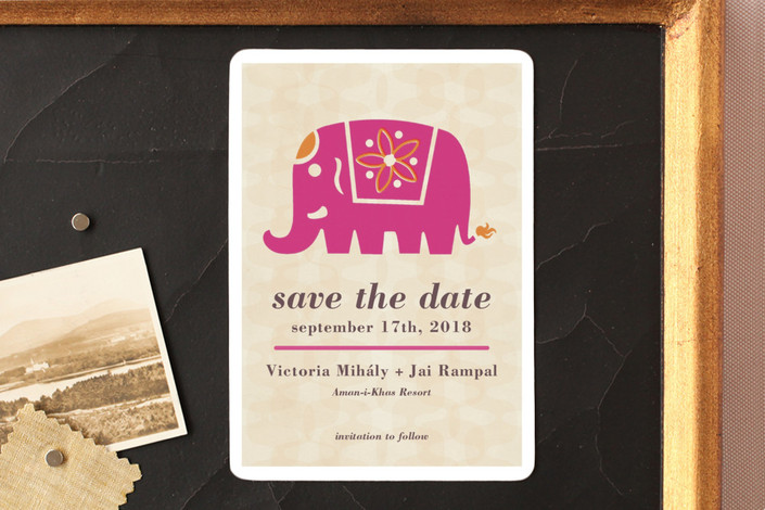 """""""Indian Elephant"""" - Save The Date Magnets in Magenta by Alex Elko Design."""