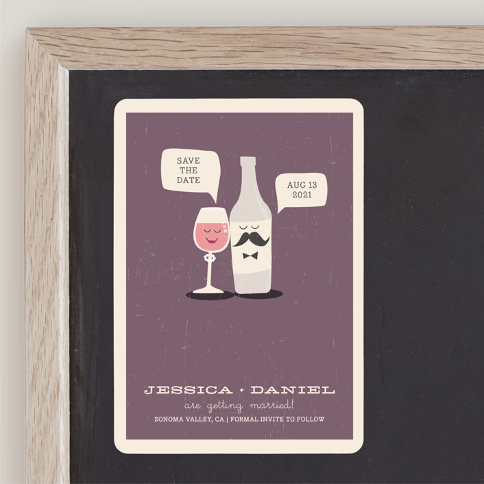 """""""Little Wine Charmers"""" - Whimsical & Funny, Winery Save The Date Magnets in Plum by Coco and Ellie Design."""