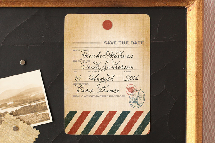 """""""Vintage Pack Your Bags"""" - Destination, Vintage Save The Date Magnets in Post Office by Dawn Jasper."""