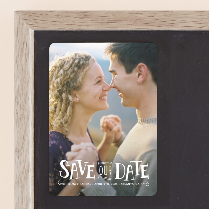 """""""Story Book"""" - Vintage Save The Date Magnets in Snow by Kristen Smith."""