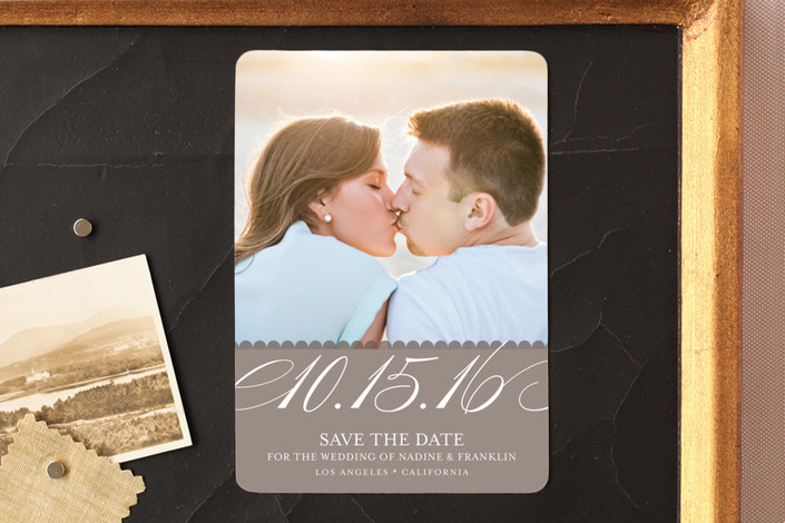 """""""Elegant Year"""" - Formal Save The Date Magnets in Taupe by annie clark."""