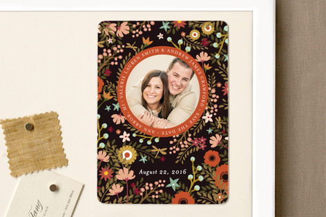 Retro Florals Save The Date Magnets