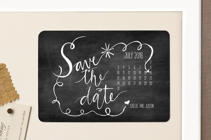 """Chalk and Black Paper"" - Hand Drawn, Modern Save The Date Magnets in Midnight by Nikkol Christiansen."