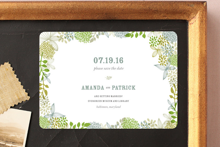 """Fling"" - Floral & Botanical Save The Date Magnets in Clover by Andrea Mentzer."