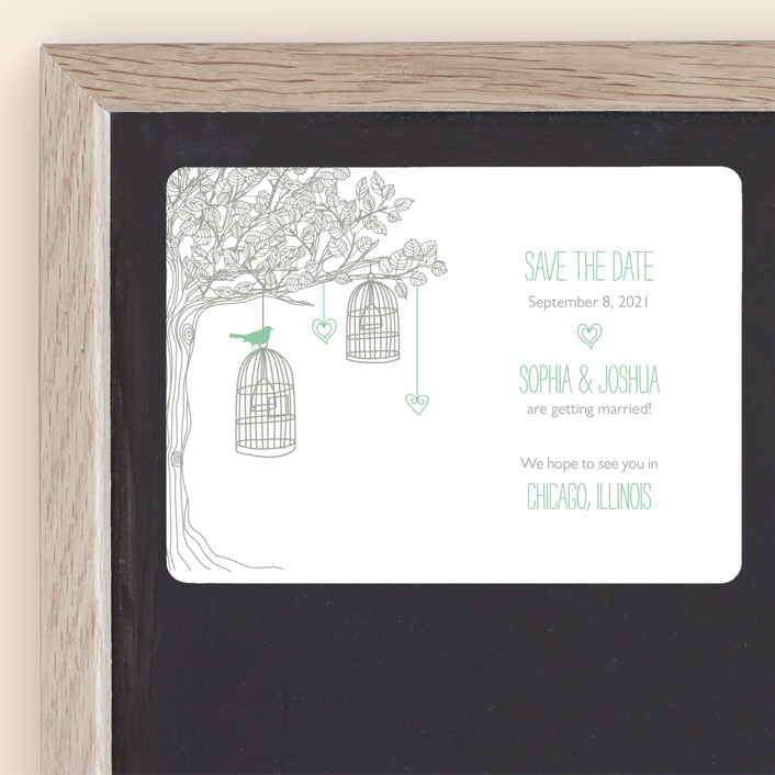 """""""Love Let Loose"""" - Whimsical & Funny Save The Date Magnets in Seaglass by Paisley Tree Press."""