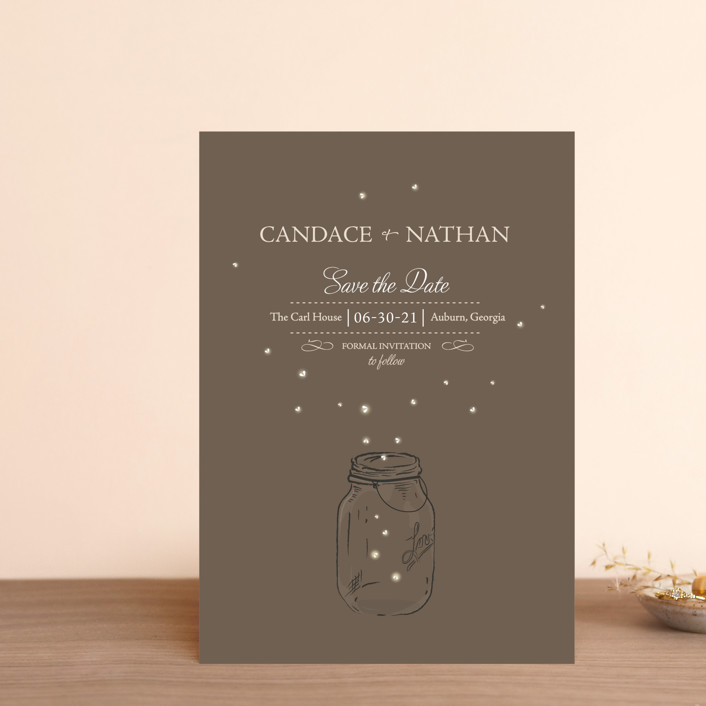 """""""Fireflies"""" - Rustic, Whimsical & Funny Save The Date Postcards in Earth by cadence paige design."""