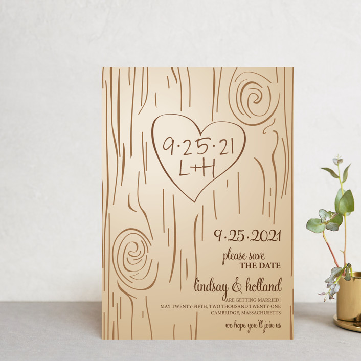 """""""Fall Carving"""" - Rustic, Whimsical & Funny Save The Date Postcards in Woodgrain by Amanda Joy."""