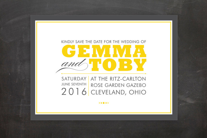 """""""Cocktail Hour"""" - Modern, Formal Save The Date Postcards in Corn Yellow by Ariel Rutland."""