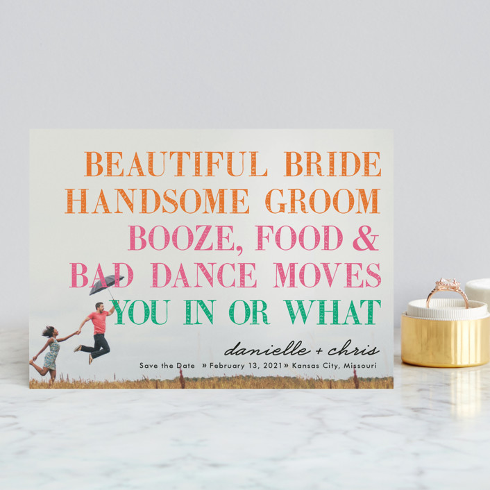 """""""You in or What"""" - Full-Bleed Photo, Whimsical & Funny Save The Date Postcards in Tangerine by hi-lighter inc.."""