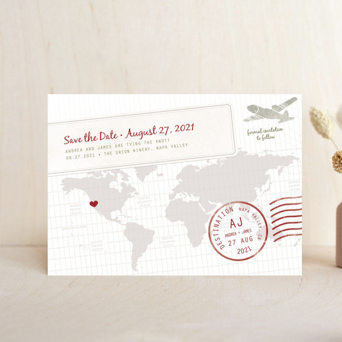 """A Faraway Destination"" - Modern, Whimsical & Funny Save The Date Postcards in Cranberry by bumble ink."