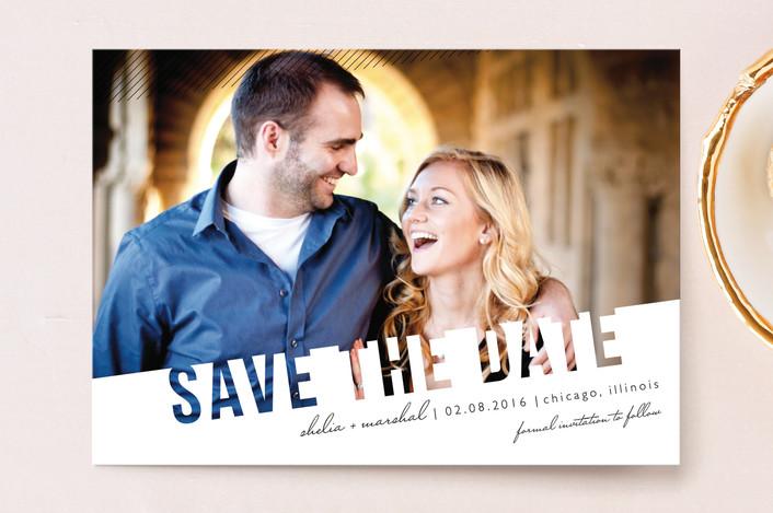 """Simply See Through"" - Modern Save The Date Postcards in Salt & Pepper by Lehan Veenker."