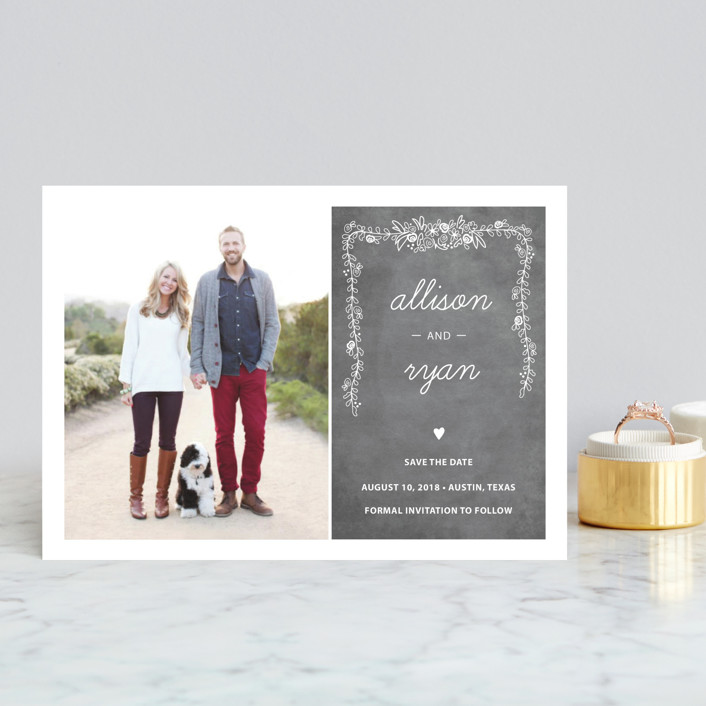 """""""Chalkboard"""" - Whimsical & Funny, Vintage Save The Date Postcards in Charcoal by SimpleTe Design."""
