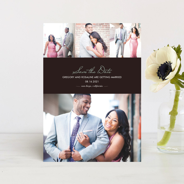 """""""Chic"""" - Modern, Simple Save The Date Postcards in Bark by kelli hall."""