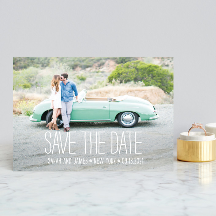 """""""Happiest Homestyle"""" - Full-Bleed Photo, Bold typographic Save The Date Postcards in Snow by Max and Bunny."""