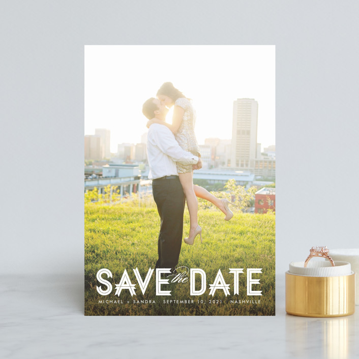 """Modern Ribbon"" - Bold typographic, Modern Save The Date Postcards in Snow by Jill Means."