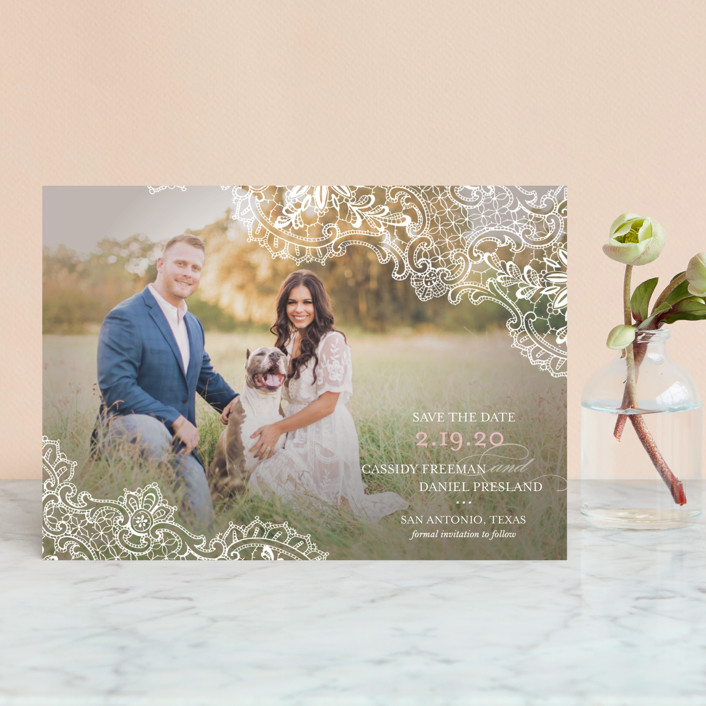 """White Lace"" - Vintage, Full-Bleed Photo Save The Date Postcards in Blush by Lauren Chism."