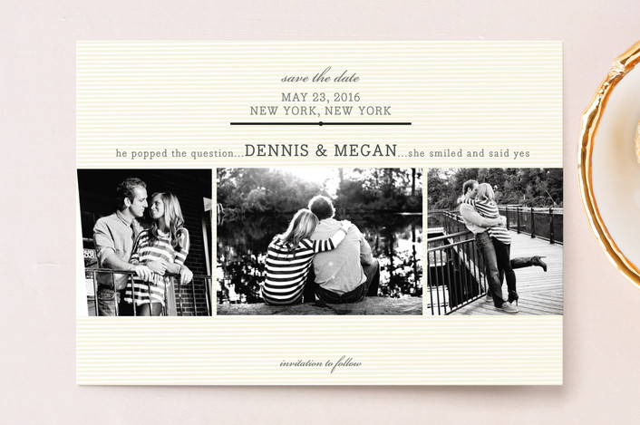"""""""Remember When"""" - Simple Save The Date Postcards in Cream by Carrie ONeal."""