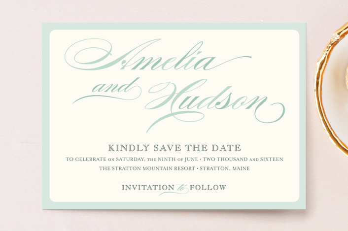 """""""Float + Spring Shades"""" - Formal Save The Date Postcards in Mint by Float Paperie."""