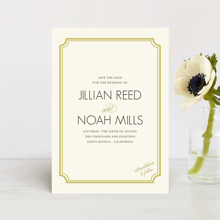 """""""Modern Classic"""" - Classical, Formal Save The Date Postcards in GoldenBear by annie clark."""