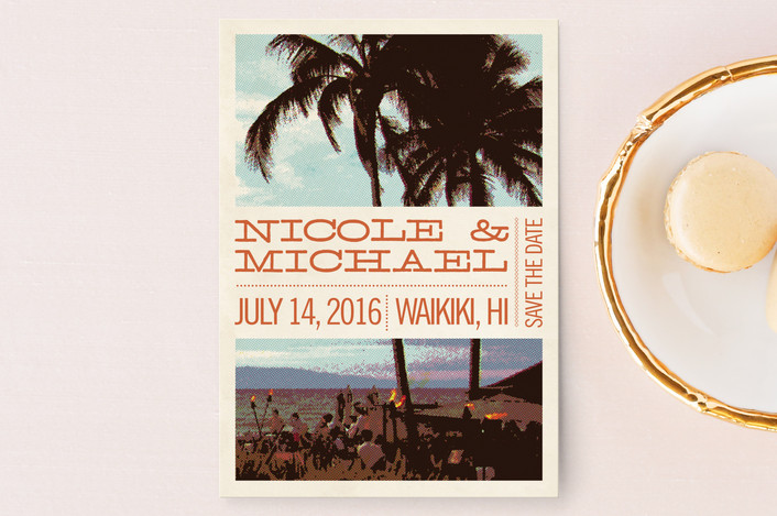 """Coconut Plantation"" - Beach, Destination Save The Date Postcards in Tangerine by Alex Elko Design."