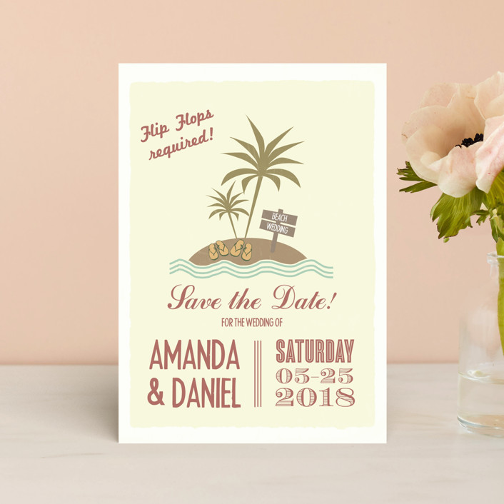 """""""Flip Flops Required"""" - Bold typographic, Beach Save The Date Postcards in Rust by Designkandy."""