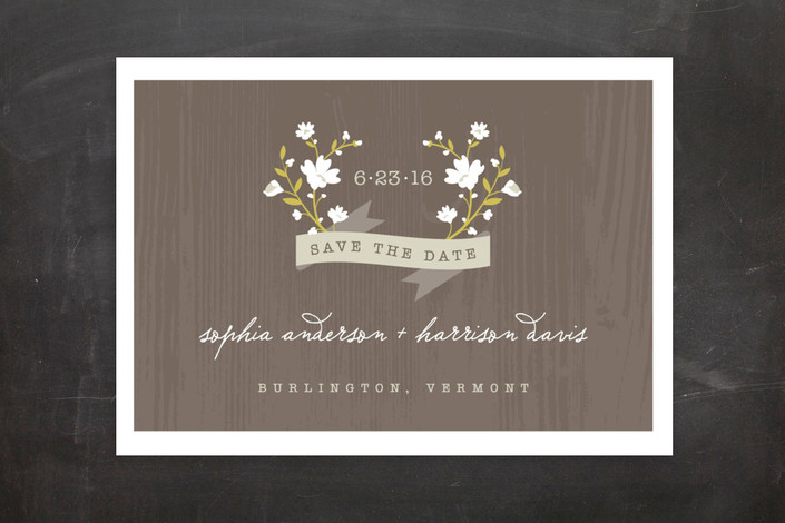 """Woodland"" - Floral & Botanical, Rustic Save The Date Postcards in White by Kristie Kern."