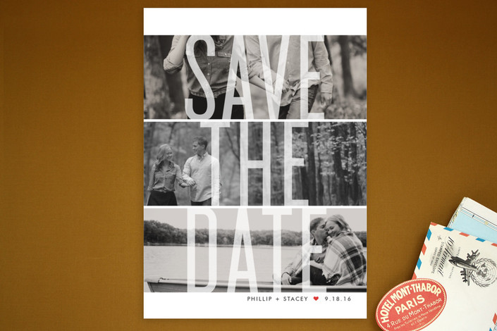 """""""Trifecta"""" - Bold typographic, Modern Save The Date Postcards in Strawberry by Lauren Chism."""