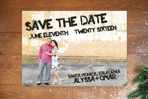Boardwalk Stencil Save The Date Postcards