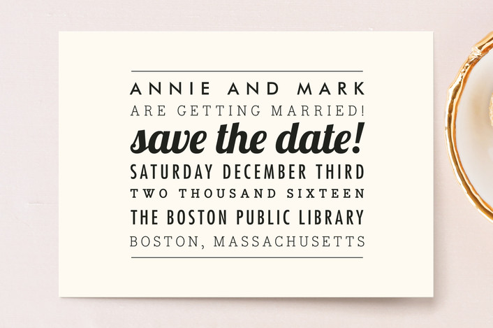 """""""The Square Type"""" - Simple, Modern Save The Date Postcards in Cream by Design Lotus."""
