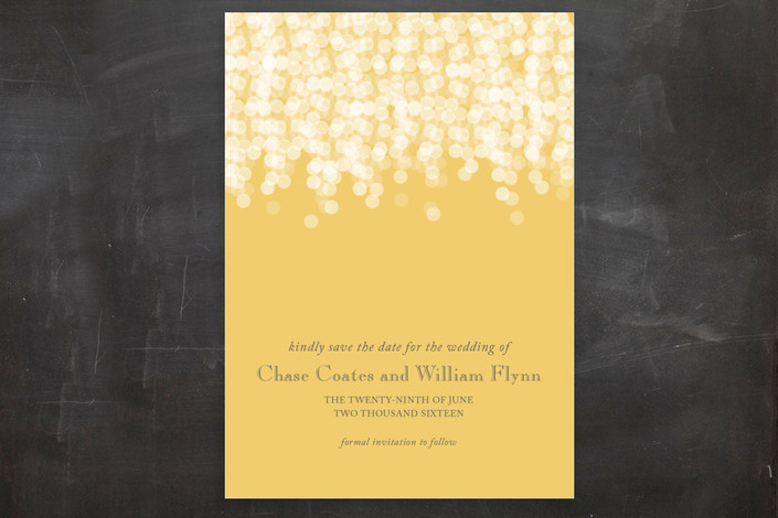 """""""Under the Stars"""" - Elegant, Classical Save The Date Postcards in Citrus Yellow by Bethany Anderson."""