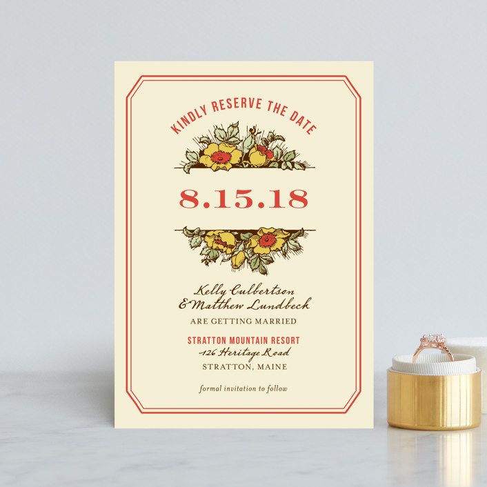 """""""Harvest Floral"""" - Rustic, Floral & Botanical Save The Date Postcards in Poppy by Paper Dahlia."""