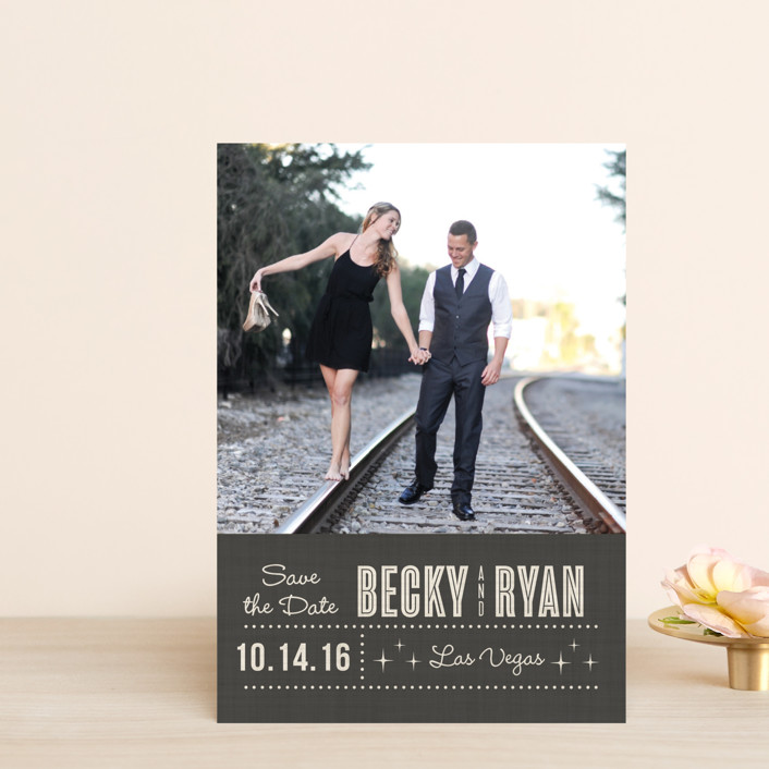 """""""Lucky in Love"""" - Bold typographic, Modern Save The Date Postcards in Charcoal by Susan Asbill."""