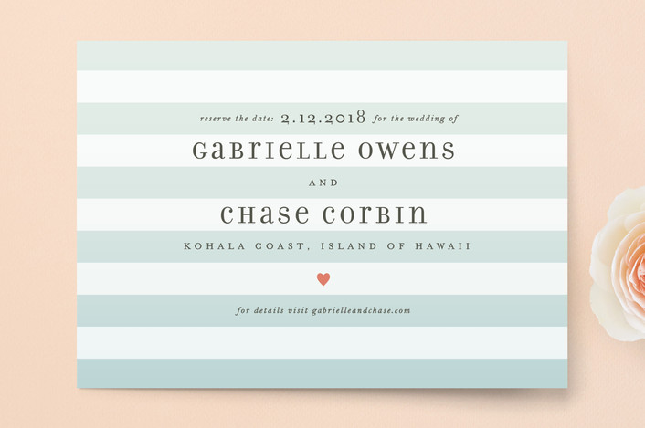 """Ombre Stripes"" - Simple, Beach Save The Date Postcards in Ocean by Jill Means."