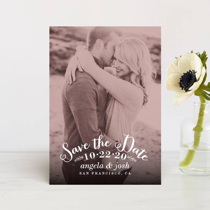 """""""Photogenic"""" - Full-Bleed Photo, Vintage Save The Date Postcards in Rose by Hooray Creative."""