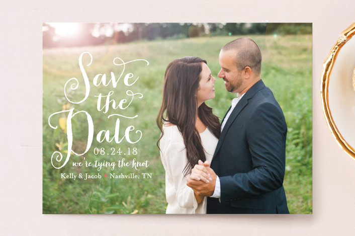"""Charmed Calligraphy"" - Full-Bleed Photo, Whimsical & Funny Save The Date Postcards in Coral by Sarah Brown."