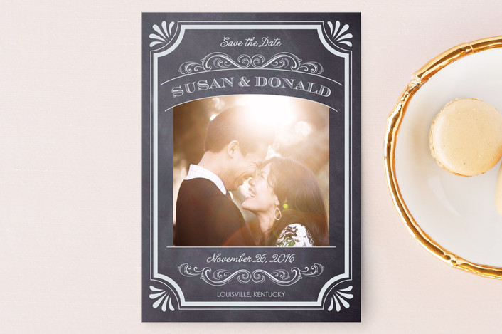 """A Chalkboard Marriage"" - Vintage, Classical Save The Date Postcards in Chalk by Erin Deegan."