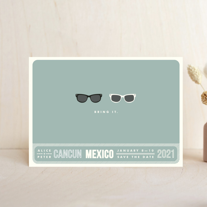 """""""Shades"""" - Whimsical & Funny, Beach Save The Date Postcards in Celadon by Olive and Violet."""