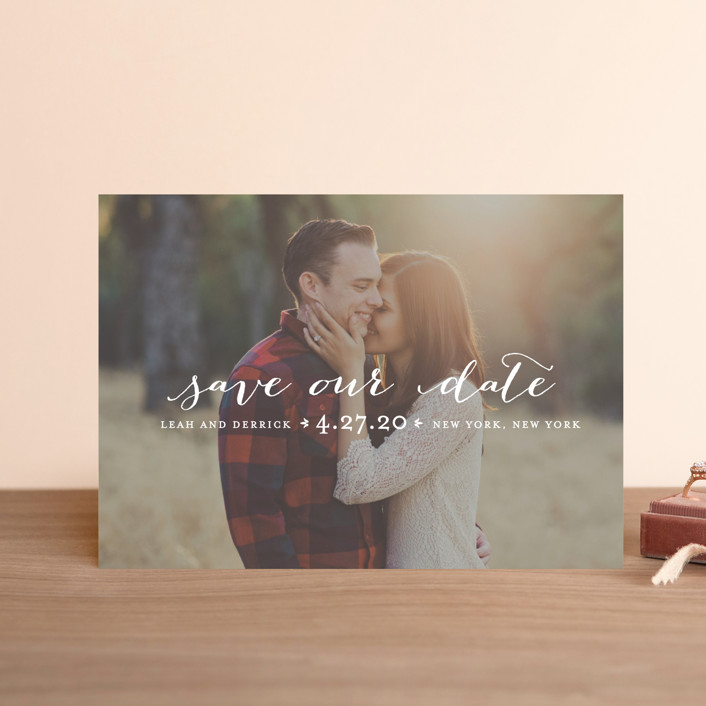 """""""Meet in the Middle"""" - Full-Bleed Photo, Simple Save The Date Postcards in Lily by Lauren Chism."""