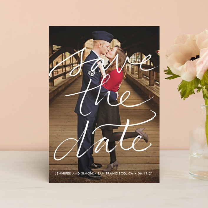 """""""Boutique"""" - Bold typographic, Simple Save The Date Postcards in Chalk by Laura Condouris."""