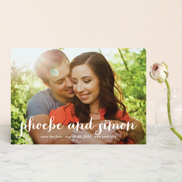 """""""Prescott"""" - Full-Bleed Photo, Simple Save The Date Postcards in Cotton by roxy."""