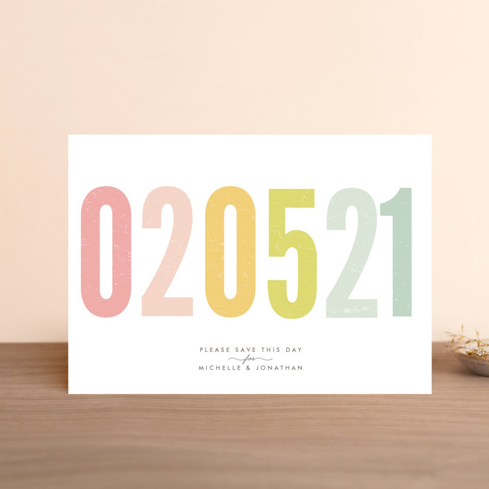 """Ice Cream Parlour Pastels"" - Bold typographic, Whimsical & Funny Save The Date Postcards in Pastel by Phrosne Ras."