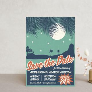 Retro Hawaii Save The Date Postcards