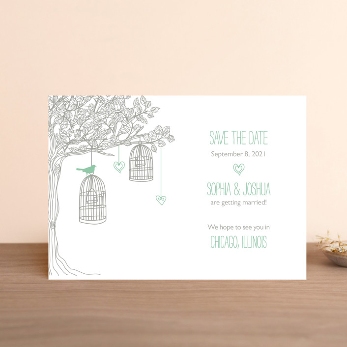 """""""Love Let Loose"""" - Whimsical & Funny Save The Date Postcards in Seaglass by Paisley Tree Press."""
