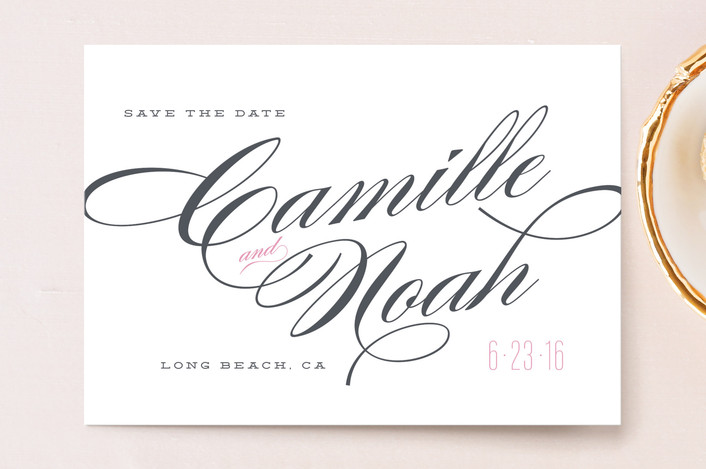 """Classique"" - Bold typographic, Elegant Save The Date Postcards in Blush by Kristie Kern."