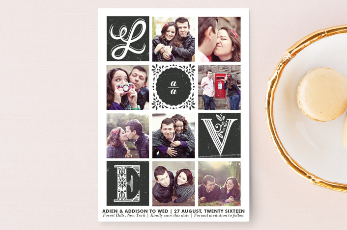 """""""Love Stories"""" - Hand Drawn, Vintage Save The Date Postcards in Ebony by Griffinbell Paper Co.."""
