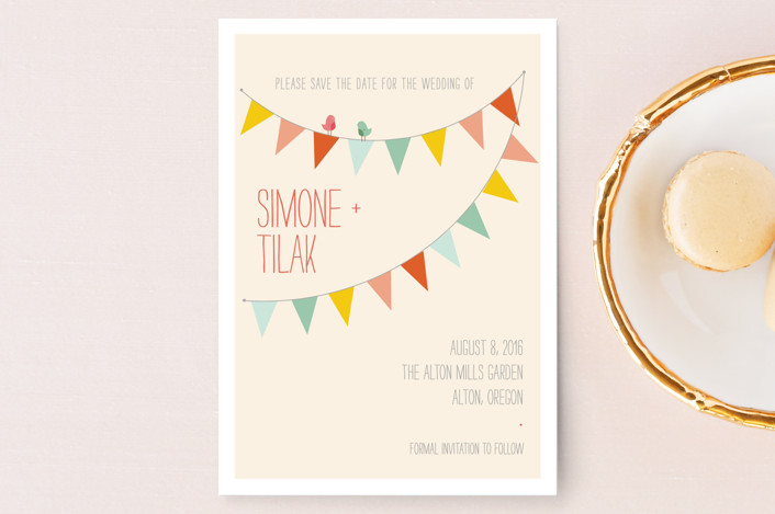"""""""Barn Party"""" - Whimsical & Funny, Modern Save The Date Postcards in Peach by ZucchiniPress."""