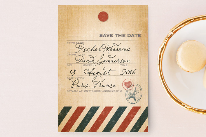 """""""Vintage Pack Your Bags"""" - Destination, Vintage Save The Date Postcards in Post Office by Dawn Jasper."""