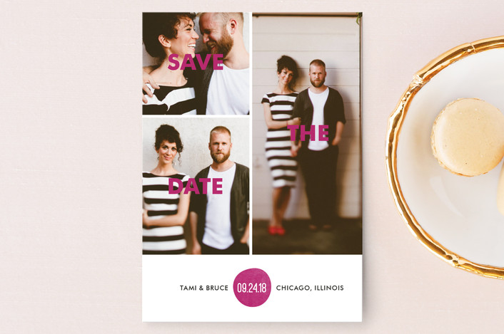 """Bold Love"" - Modern Save The Date Postcards in Dark Magenta by Bonjour Berry."